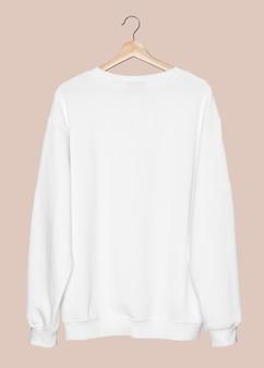 Pull blanc simple vêtements streetwear unisexe