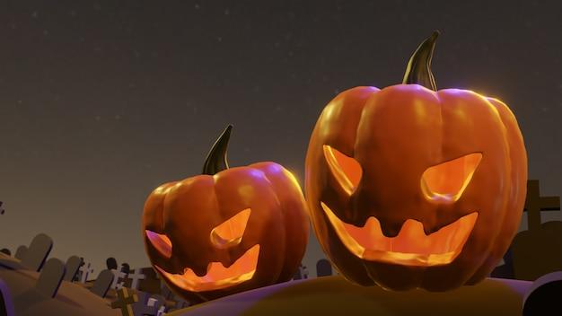 Pumpkin jack o lanterns fantôme et une sorcière au cimetière à halloween pour le fond