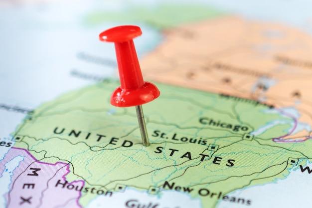 Punaise marquant l'emplacement sur la carte des états-unis