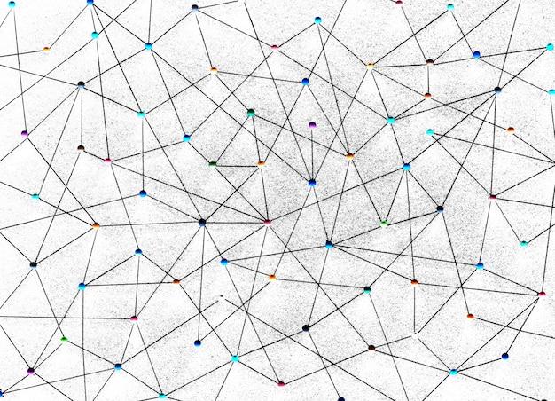 Punaises connectées fond de réseau linéaire