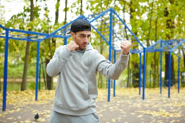 Punch d'entraînement en extérieur