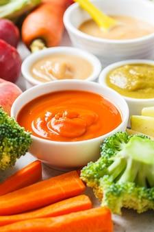 Purée de fruits et légumes dans des bols blancs avec ingrédients.