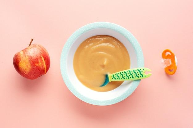 Purée, pommes, servi, plaque