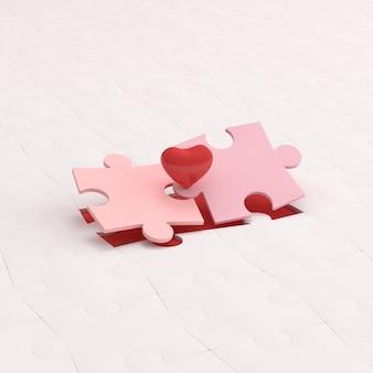 Puzzle connecté et coeur rouge.