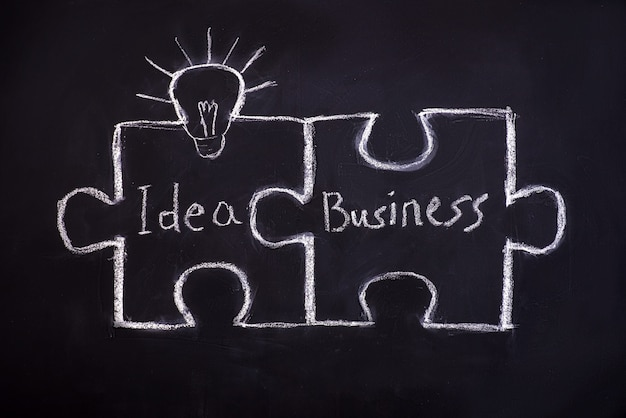 Puzzle de dessin sur tableau noir pour expliquer le concept d'entreprise.