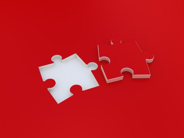 Puzzle double sur rouge. illustration 3d