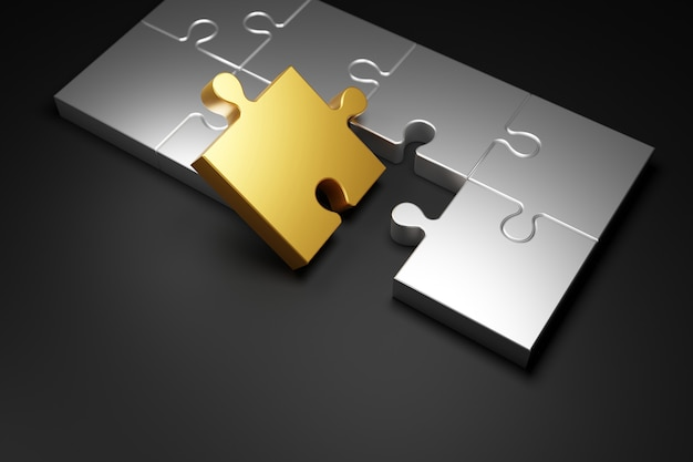 Puzzle en métal sur fond noir 3d render