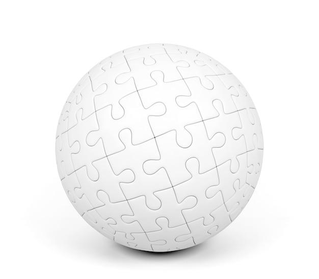 Puzzle sphérique sur fond blanc, rendu 3d