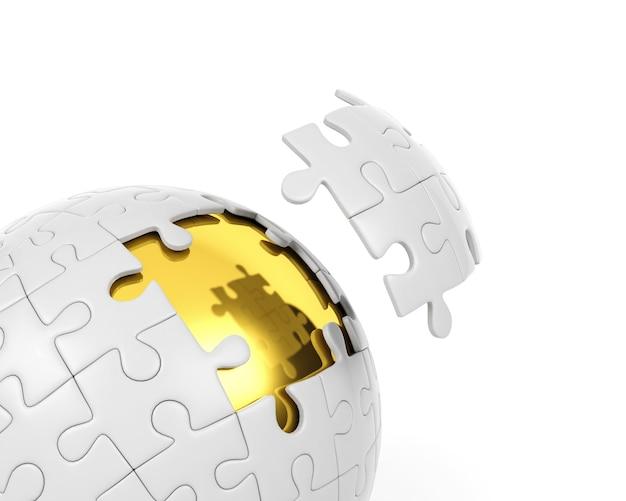 Puzzle sphérique avec des pièces déconnectées