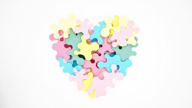 Des puzzles colorés se combinent pour former des coeurs
