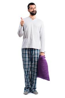 Pyjamas oreiller arrière-plan expression éveillé