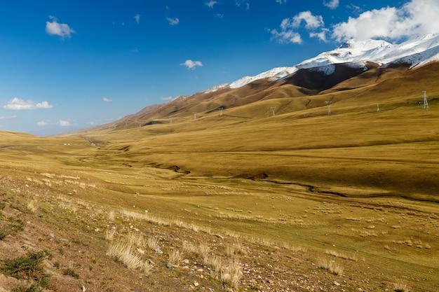 Pylônes de lignes à haute tension dans les montagnes