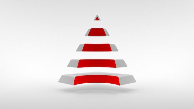 Pyramide blanche avec un col de couleur rouge composé de parties horizontales égales