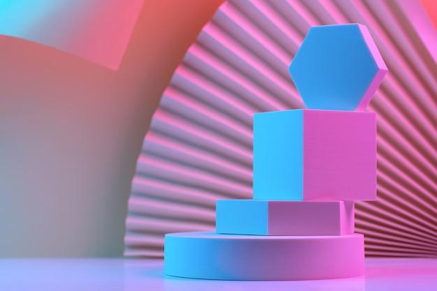 Pyramide de formes géométriques sur le podium