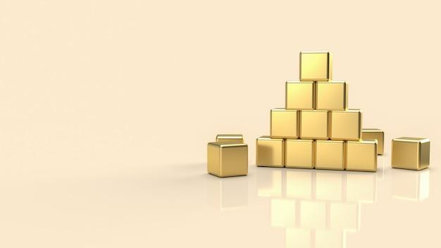 La pyramide d'or pour le rendu 3d du concept de fond abstrait.