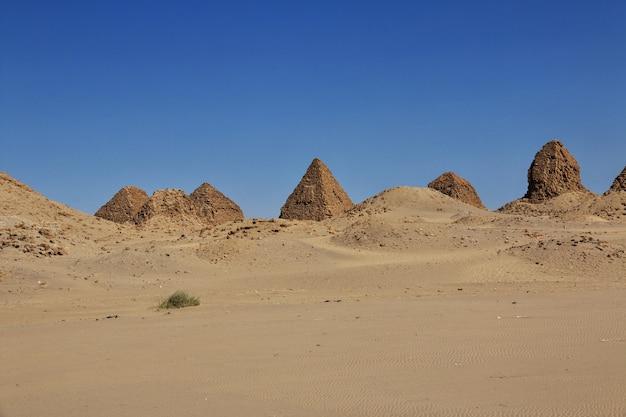 Pyramides antiques de nuri dans le désert du sahara, soudan