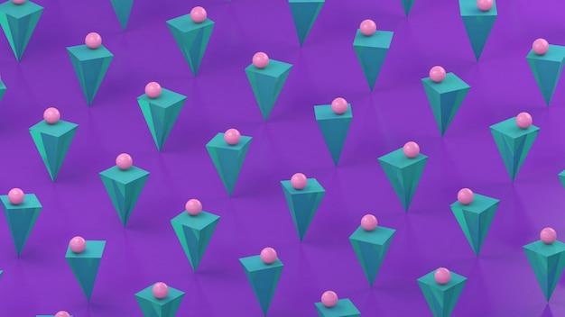 Pyramides bleues menthe et boules roses, fond violet. illustration abstraite, rendu 3d.