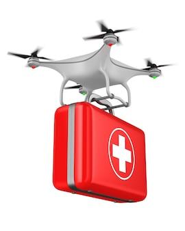 Quadrocopter avec trousse de premiers soins sur blanc. illustration 3d isolée
