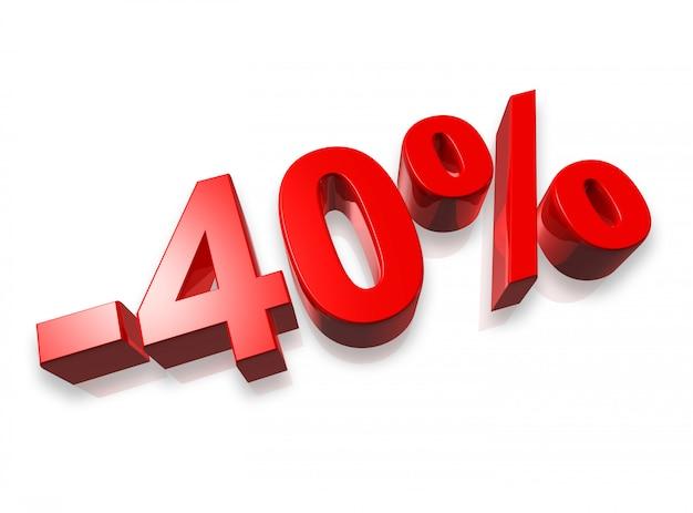 Quarante pour cent du nombre 3d isolé sur blanc