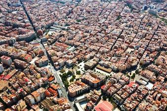 Quartier résidentiel de l'hélicoptère. barcelone, catalogne