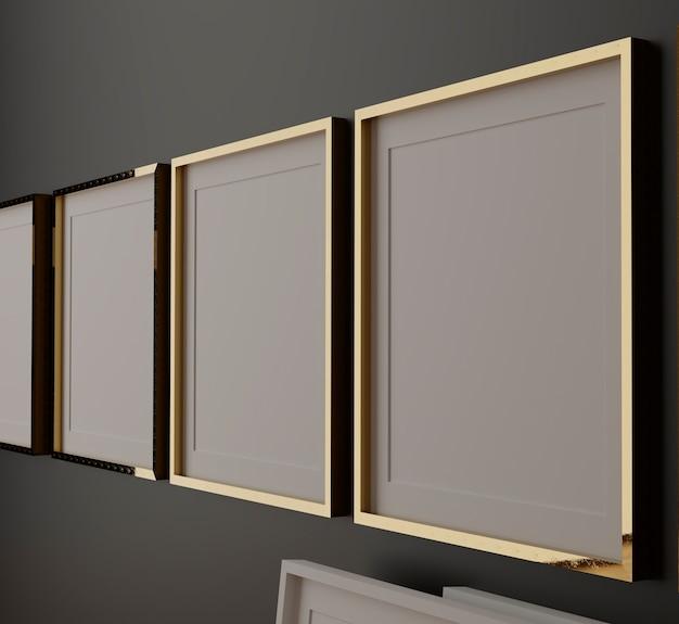 Quatre cadres blancs verticaux sur mur noir