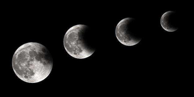 Quatre étapes de l'éclipse de lune, éclipse lunaire, arrière-plan