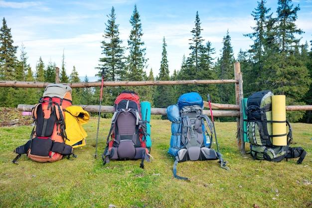 Quatre sacs à dos et bâtons de randonnée debout près d'une clôture et d'une forêt verte
