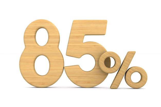 Quatre-vingt cinq pour cent sur fond blanc.