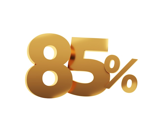 Quatre-vingt-cinq pour cent d'or sur fond blanc. illustration de rendu 3d.