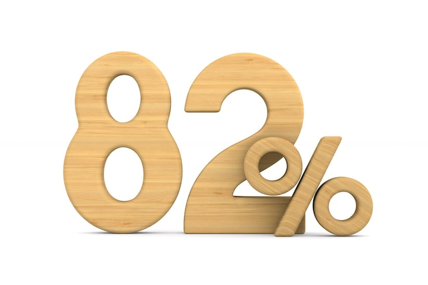 Quatre-vingt deux pour cent sur fond blanc.