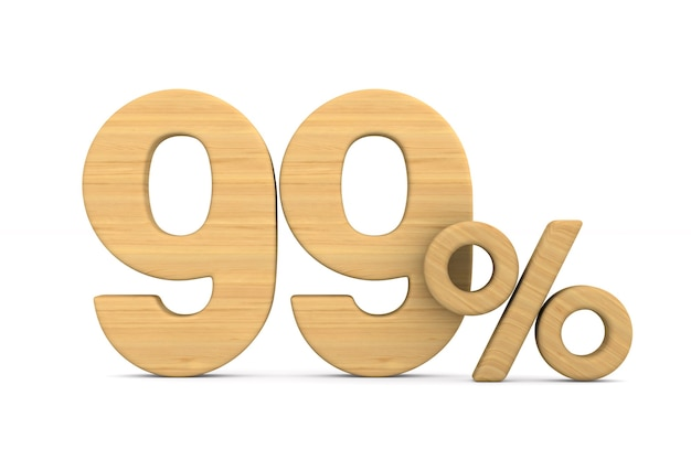 Quatre-vingt dix neuf pour cent sur fond blanc. illustration 3d isolée