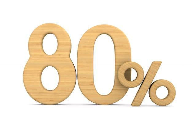 Quatre-vingt pour cent sur fond blanc.