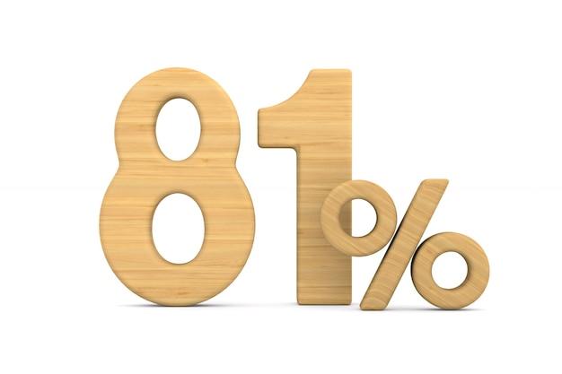 Quatre-vingt un pour cent sur fond blanc.