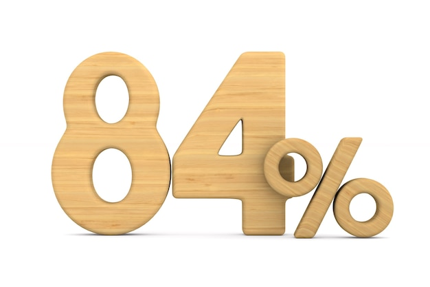 Quatre-vingt quatre pour cent sur fond blanc.