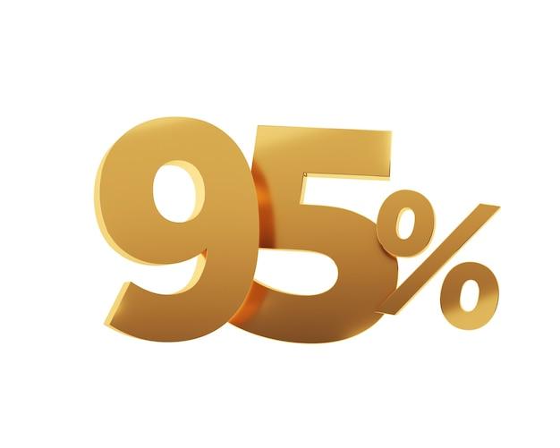 Quatre-vingt-quinze pour cent d'or sur fond blanc. illustration de rendu 3d.