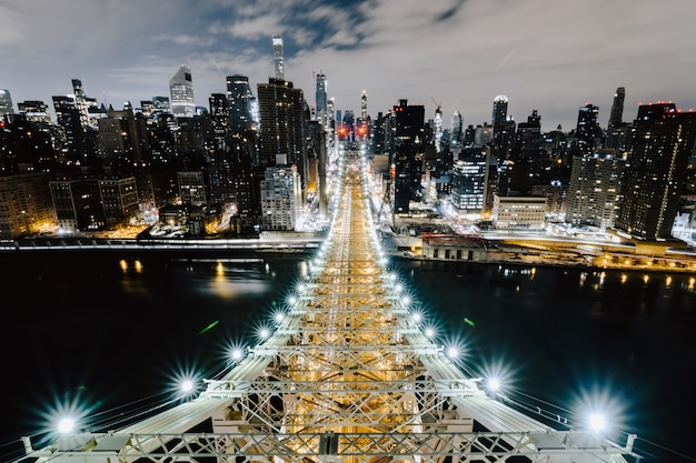 Queensboro bridge et les beaux bâtiments de new york
