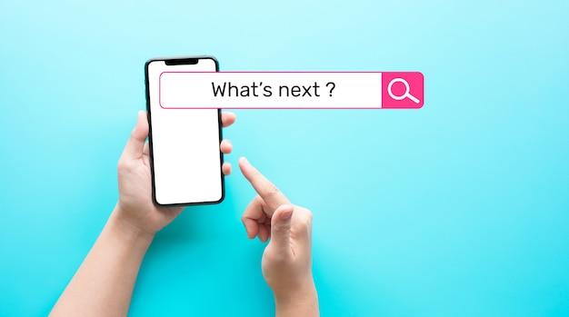 Quel est le prochain texte avec la barre de recherche sur le smartphone