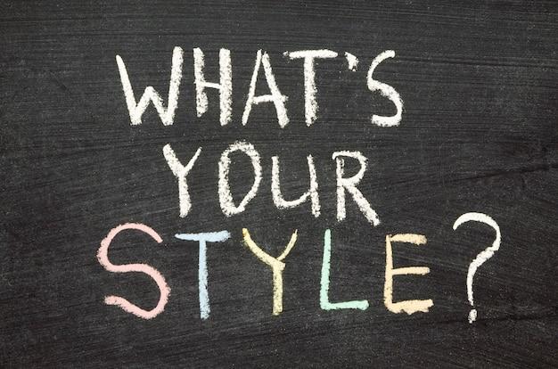 Quelle est votre question de style écrite à la main sur le tableau noir de l'école