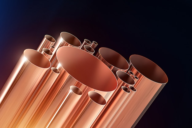 Quelques tubes de cuivre brillant sur fond sombre