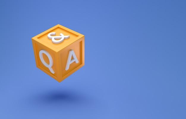 Question et réponse concept minimal de boîte de cube.
