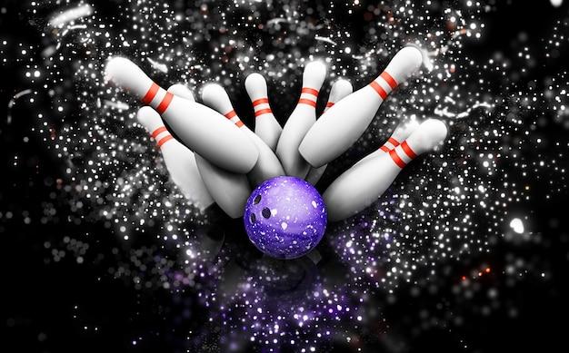 Quilles de bowling 3d avec effet scintillant