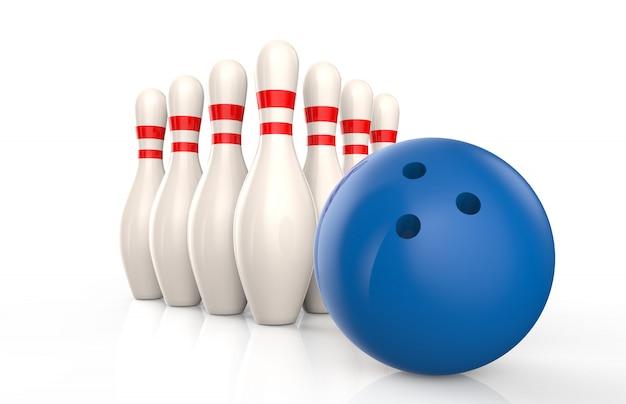 Quilles de bowling et boule bleue isolée