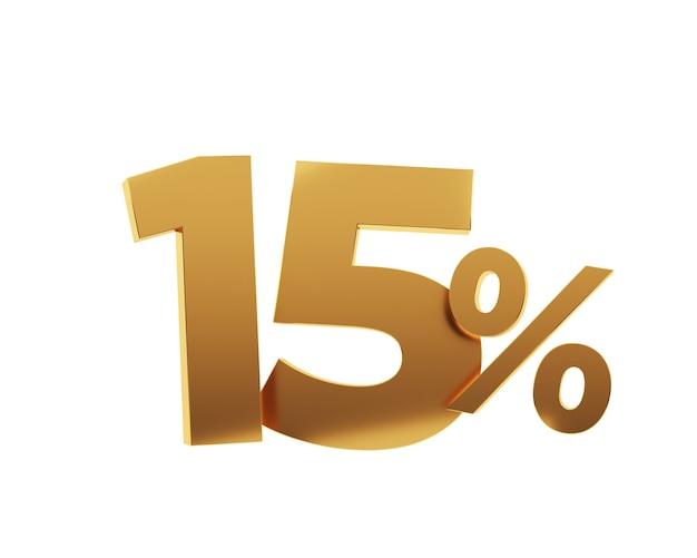 Quinze pour cent d'or sur fond blanc. illustration de rendu 3d.