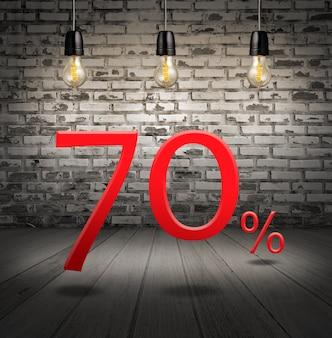 Rabais de 70 pour cent avec texte offre spéciale votre rabais à l'intérieur avec briques blanches