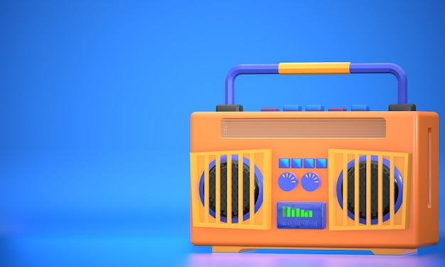 Radio jaune moderne de rendu 3d