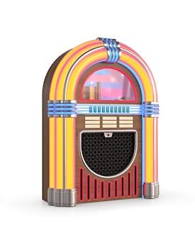 Radio jukebox rétro isolé sur fond blanc