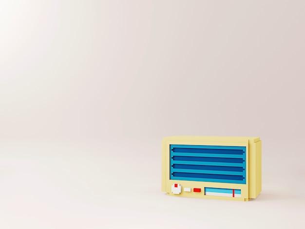 Radio vintage sur fond minimal
