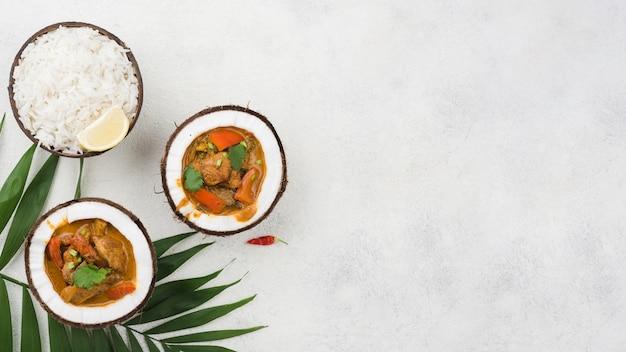 Ragoût frais fait maison dans des assiettes de noix de coco copy space