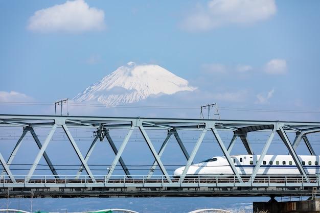 Rail de train shinkansen sur fond de montagne fuji