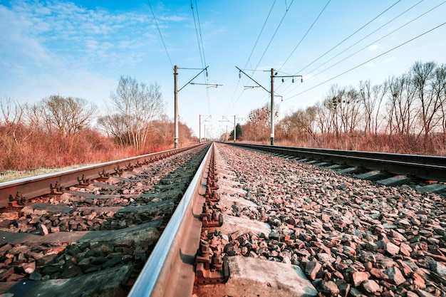 Rails, train, paysage